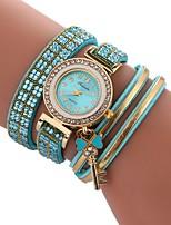 baratos -Mulheres Bracele Relógio Chinês Relógio Casual / imitação de diamante PU Banda Casual / Fashion Preta / Branco / Azul