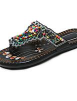 Недорогие -Жен. Обувь Полиуретан Лето Удобная обувь Тапочки и Шлепанцы На плоской подошве Белый / Черный