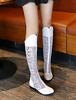 cheap -Women's Shoes PU(Polyurethane) Spring & Summer Slingback / Fashion Boots Boots Chunky Heel Closed Toe Over The Knee Boots White / Black