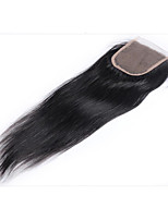 Недорогие -Естественные волны 4x4 Закрытие Прямой Швейцарское кружево Натуральные волосы Лучшее качество