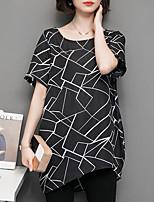 cheap -women's blouse - geometric round neck