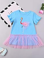 Недорогие -Дети (1-4 лет) Девочки Фламинго Птица С короткими рукавами Платье