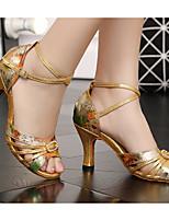 baratos -Mulheres Sapatos de Dança Latina Couro Ecológico Salto Salto Grosso Sapatos de Dança Dourado