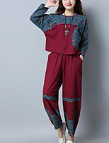 cheap -Women's Vintage Puff Sleeve Set - Solid Colored, Pleated Pant
