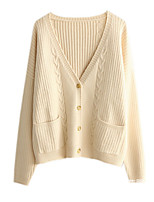 cheap -Women's Going out Long Sleeve Cardigan - Solid Colored V Neck