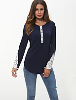 economico -T-shirt Per donna Essenziale Pizzo, Monocolore