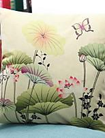 abordables -1 PC Algodón / Lino Funda de almohada, Estampado Floral Flor