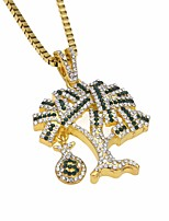 cheap -Men's Cubic Zirconia Stylish / Link / Chain Pendant Necklace / Chain Necklace - Tree of Life, Dollars Unique Design, European, Hip-Hop Cool Gold, Silver 60 cm Necklace Jewelry 1pc For Gift, Street