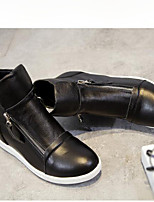 Недорогие -Жен. Обувь Наппа Leather Весна Модная обувь Ботинки На низком каблуке Круглый носок Ботинки Белый / Черный