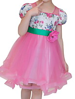 Недорогие -Дети (1-4 лет) Девочки Однотонный С короткими рукавами Платье