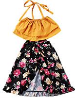 cheap -Kids Girls' Floral Sleeveless Clothing Set