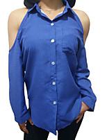 abordables -Mujer Algodón Camisa, Cuello Camisero Geométrico