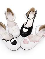 cheap -Lolita Shoes Sweet Lolita Dress Princess Lolita Chunky Heel Shoes Color Block 6.5 cm CM Black / Black / Pink For PU(Polyurethane)