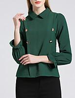 economico -T-shirt Per donna Essenziale / Moda città Con balze, Tinta unita