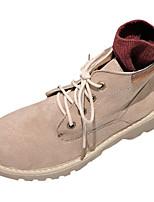 Недорогие -Жен. Армейские ботинки Полиуретан Осень Ботинки На плоской подошве Круглый носок Черный / Хаки