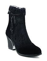 Недорогие -Жен. Эластичная ткань Наступила зима Удобная обувь Ботинки На толстом каблуке Черный