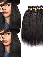 Недорогие -4 Связки Малазийские волосы Яки Натуральные волосы Человека ткет Волосы / Пучок волос / One Pack Solution 8-28 дюймовый Естественный цвет Ткет человеческих волос Машинное плетение