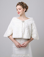 cheap -3/4 Length Sleeve Faux Fur Wedding / Party / Evening Women's Wrap With Side Draping Coats / Jackets