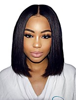 cheap -Synthetic Wig / Synthetic Lace Front Wig Straight Middle Part Synthetic Hair 14 inch Soft / Best Quality / Middle Part Bob Black Wig Women's Short Lace Front Natural Black / African American Wig