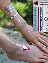 preiswerte -3 pcs Metallisch Temporary Tattoos Blumen Serie / Romantische Serie Umweltfreundlich / Neues Design Körperkunst Korpus / Arm / Handgelenk / Metallische Schmucktätowierungen