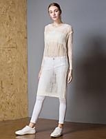 billige -Dame Aktiv Pullover - Ensfarvet, Udhulet / Ribbet