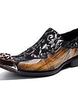 Недорогие -Муж. Официальная обувь Наппа Leather Осень Туфли на шнуровке Контрастных цветов Черный / Для вечеринки / ужина