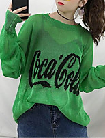 cheap -Women's Long Sleeve Loose Pullover - Letter