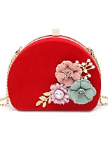 cheap -Women's Bags Polyester / Alloy Evening Bag Appliques / Pearls Floral Print Black / Red / Fuchsia