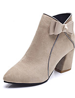 cheap -Women's Shoes Suede Summer Fashion Boots Boots Chunky Heel Pointed Toe Mid-Calf Boots Bowknot Black / Beige / Pink