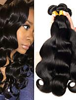 billiga -3 paket Brasilianskt hår Vågigt Äkta hår Human Hår vävar / bunt hår / En Pack Lösning 8-28 tum Naturlig Naurlig färg Hårförlängning av äkta hår Maskingjord Bästa kvalitet / Ny ankomst / 100% Jungfru