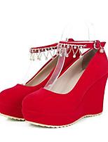 Недорогие -Жен. Комфортная обувь Замша Зима Обувь на каблуках Туфли на танкетке Черный / Красный