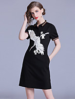 cheap -Women's Street chic Shift Dress - Animal Embroidered