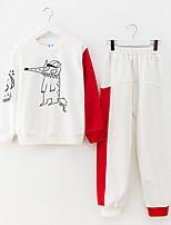 Недорогие -Дети Девочки Активный С принтом Длинный рукав Хлопок Набор одежды