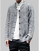 cheap -men's long sleeve loose cardigan - solid colored round neck