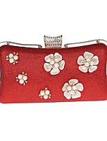 abordables -Femme Sacs Polyester / Alliage Sac de soirée Détail Perle Rouge / Fuchsia / Argent