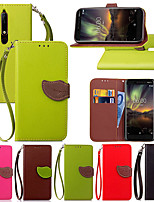 Недорогие -Кейс для Назначение Nokia Nokia 6 2018 / Nokia 5.1 Бумажник для карт / со стендом / Флип Чехол Растения Твердый Кожа PU для Nokia 8 / Nokia 3.1 / Nokia 2.1