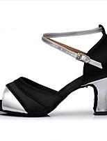 cheap -Women's Latin Shoes Satin Heel Cuban Heel Dance Shoes Black / Gold / Black / Silver