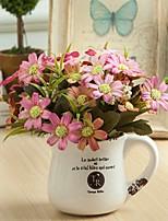 baratos -Flores artificiais 1 Ramo Clássico / Solteiro (L150 cm x C200 cm) Estiloso / Pastoril Estilo Crisântemo Flor de Mesa