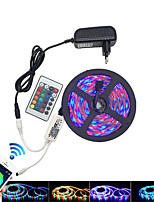 cheap -HKV 5m Light Sets / RGB Strip Lights 300 LEDs 3528 SMD 1 24Keys Remote Controller / 1 x 2A power adapter RGB Waterproof / Cuttable / Linkable 100-240 V