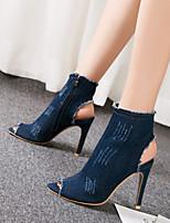 Недорогие -Жен. Cowboy / Western Boots Деним Весна & осень Ботинки На шпильке Открытый мыс Ботинки Темно-синий / Светло-синий / Для вечеринки / ужина