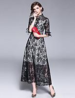 Недорогие -Жен. Винтаж / Изысканный А-силуэт Платье - Геометрический принт, Кружева Макси