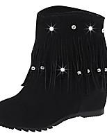 Недорогие -Жен. Комфортная обувь Полиуретан Наступила зима Ботинки На плоской подошве Черный / Винный