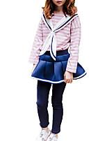 Недорогие -Дети (1-4 лет) Девочки Классический Однотонный / Полоски Длинный рукав Набор одежды