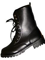Недорогие -Жен. Полиуретан Осень Армейские ботинки Ботинки На низком каблуке Круглый носок Черный