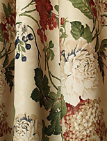 cheap -Blackout Curtains Drapes Dining Room Floral 100% Polyester Printed