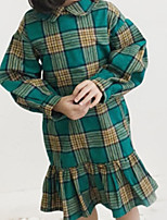 cheap -Kids Girls' Plaid Long Sleeve Dress