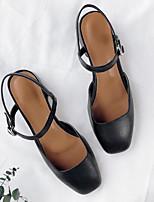 Недорогие -Жен. Обувь Наппа Leather Лето Туфли лодочки Обувь на каблуках На толстом каблуке Белый / Черный / Коричневый