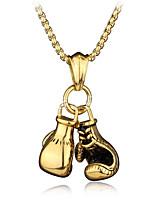 baratos -Homens Fashion / Cadeia de Foxtail Colares com Pendentes / Colares em Corrente - Luvas de Box Estiloso, Europeu, Hip-Hop Dourado, Prata 60 cm Colar 1pç Para Presente, Rua