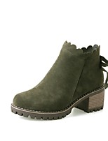 cheap -Women's Shoes PU(Polyurethane) Fall & Winter Fashion Boots Boots Chunky Heel Round Toe Booties / Ankle Boots Gray / Green / Almond