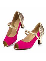 baratos -Mulheres Sapatos de Dança Latina Camurça Salto Salto Alto Magro Sapatos de Dança Fúcsia